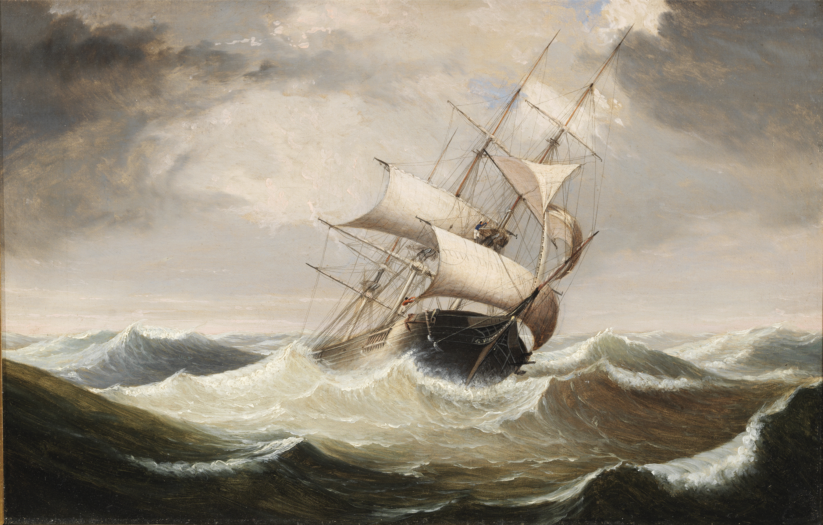 Fitz Henry Lane | Three Master in Rough Seas, early 1850s ...