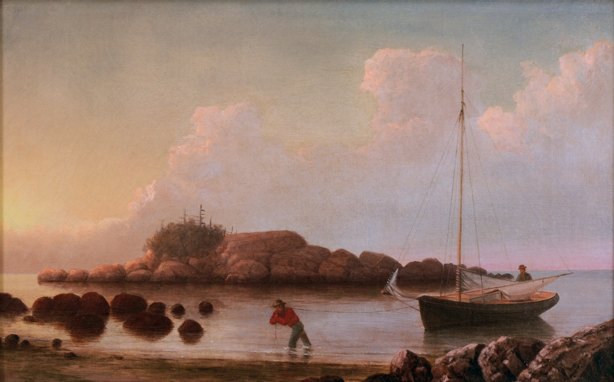 Coming Ashore near Brace's Rock, Gloucester, Massachusetts, c.1860 (inv. 60) 10 x 15 3/4 in. Private collection, On loan to Minnesota Marine Art Museum, Winona, since September 8, 2005.