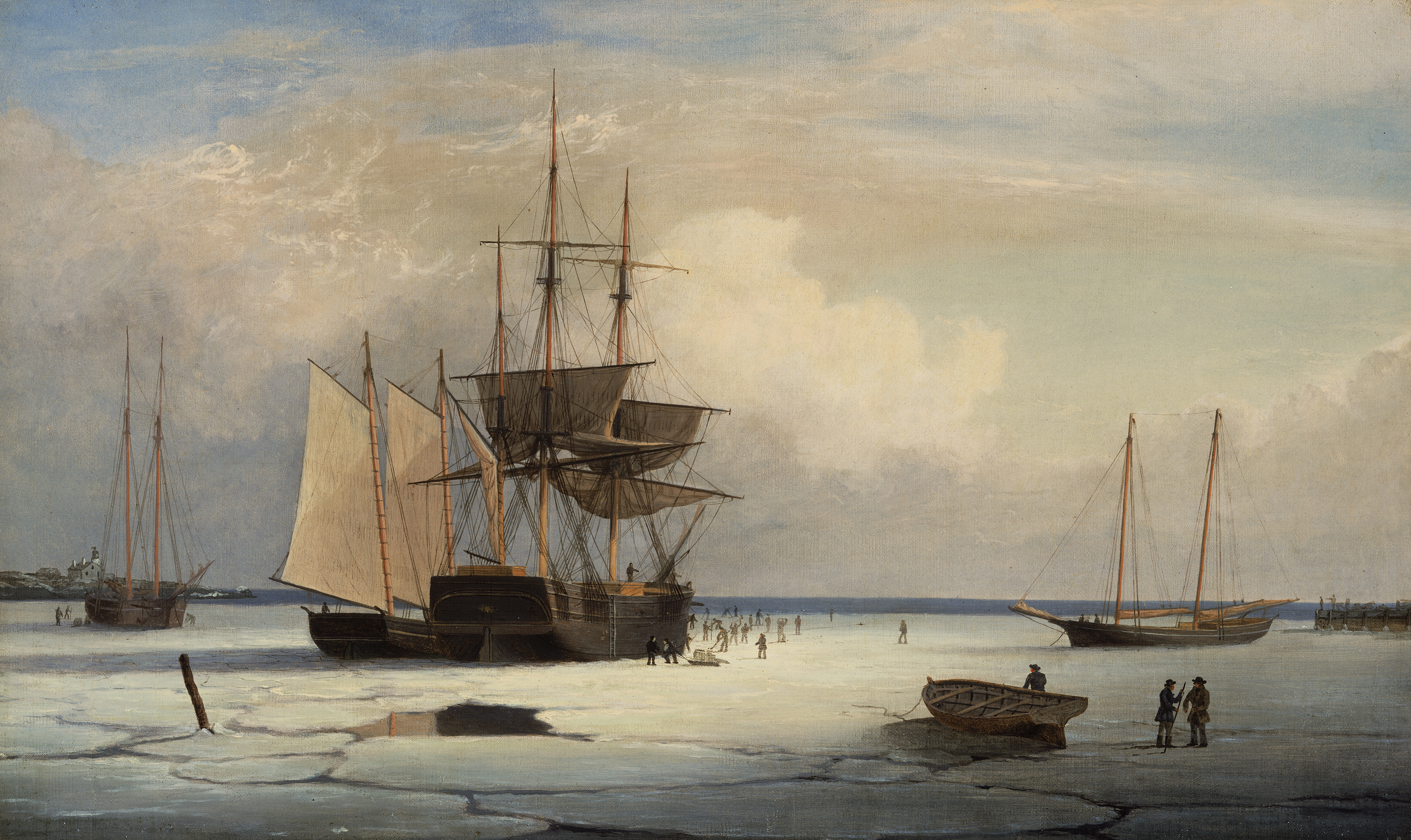 fitz henry lane ships in ice off ten pound island gloucester
