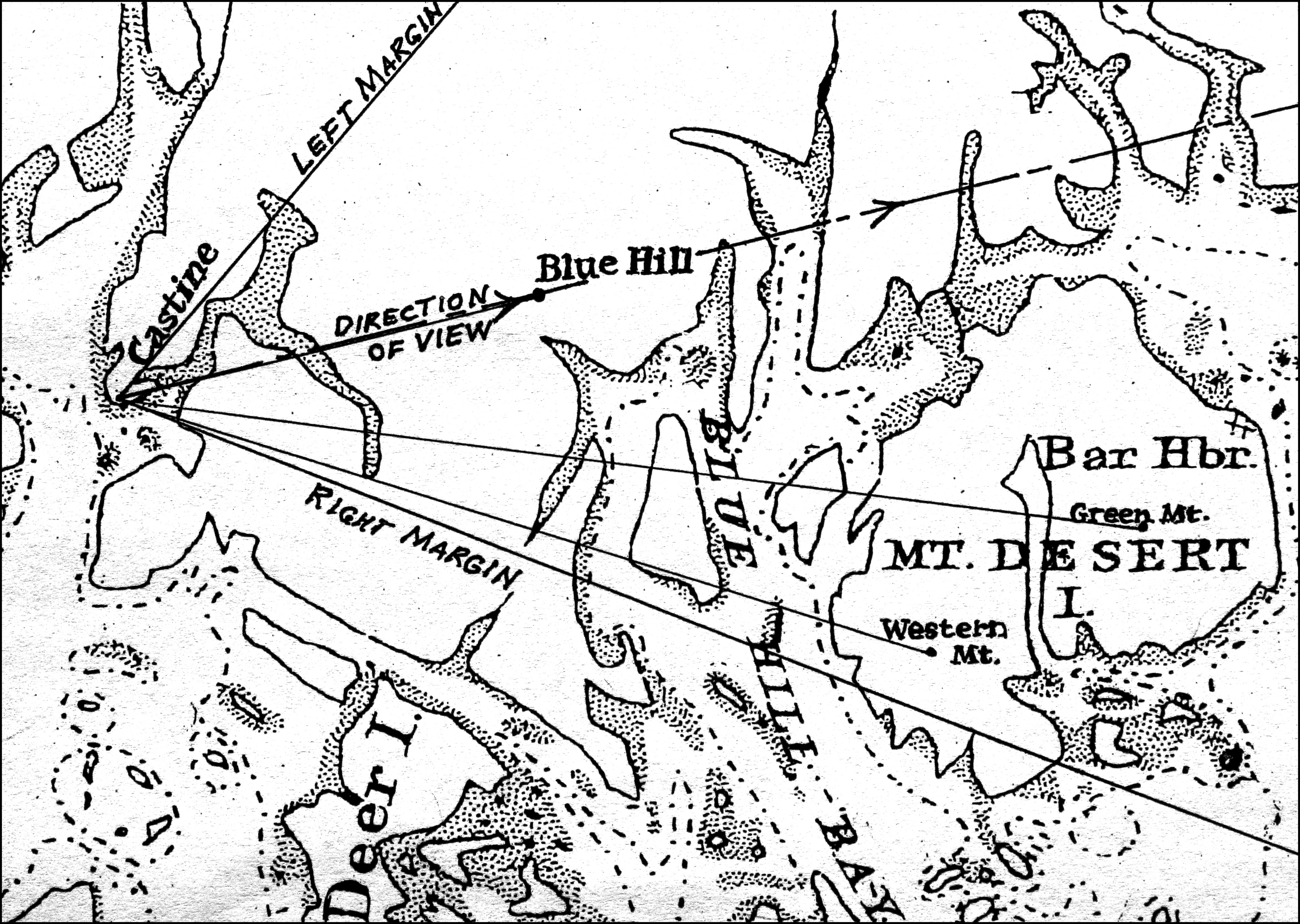 Fitz henry lane castine from fort preble 1851 inv 169 viewpoint chart showing lanes location when making this drawing nvjuhfo Gallery