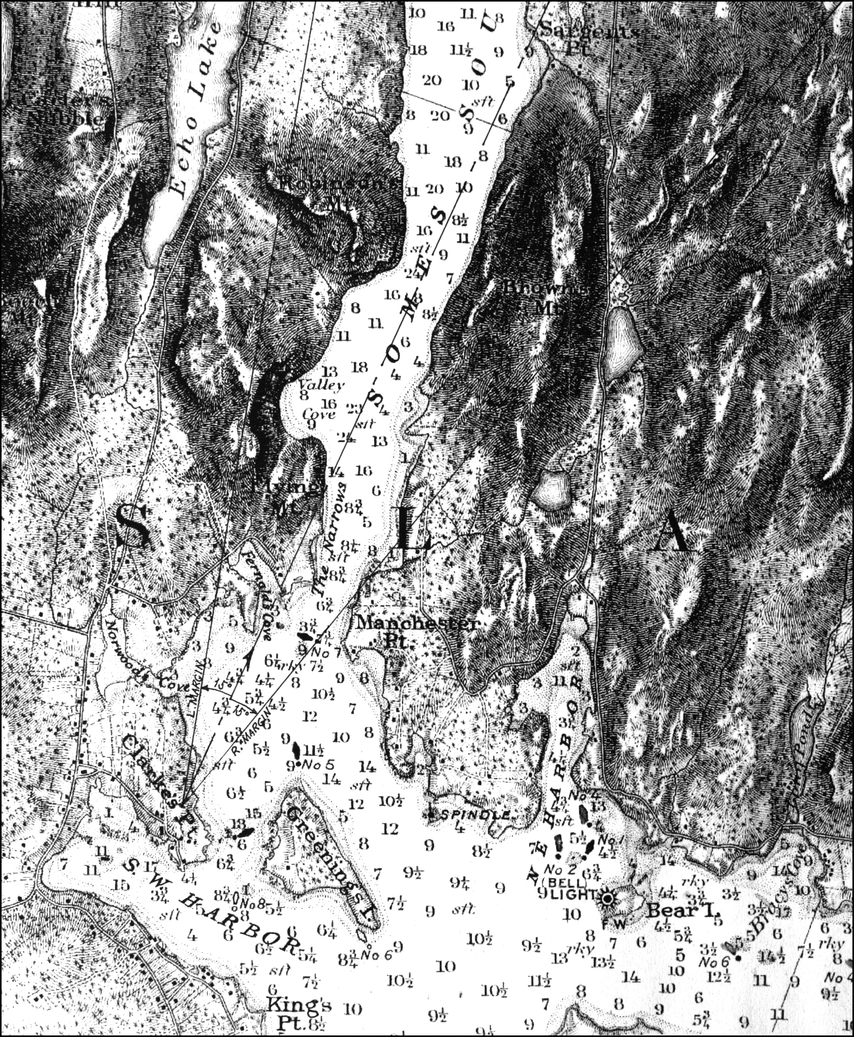 Fitz henry lane entrance of somes sound mount desert maine 1855 viewpoint chart geenschuldenfo Image collections
