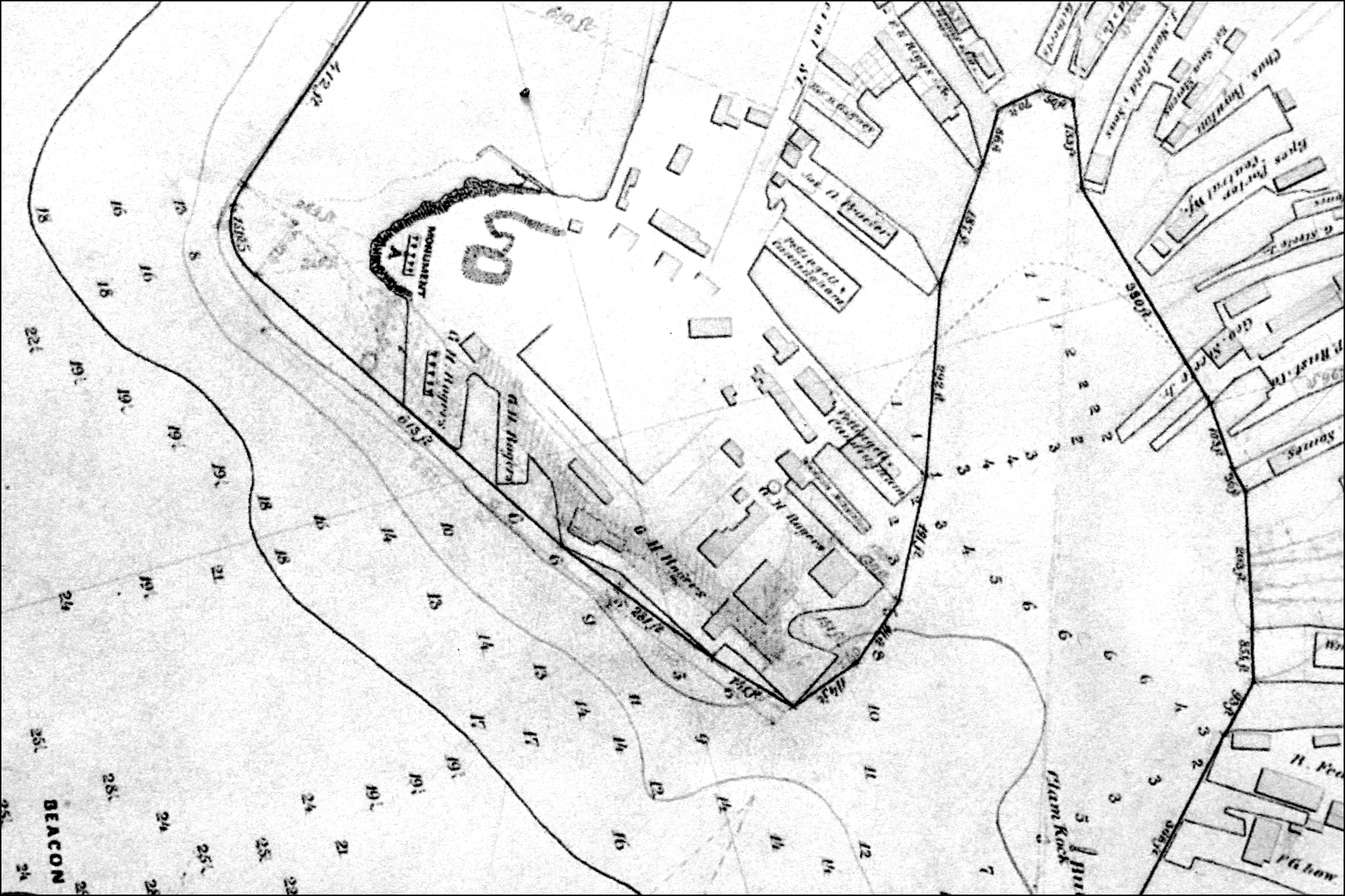 Fitz henry lane ten pound island gloucester 1850s inv 17 detail of 1865 gloucester harbor commissioners map showing wharf limits nvjuhfo Choice Image