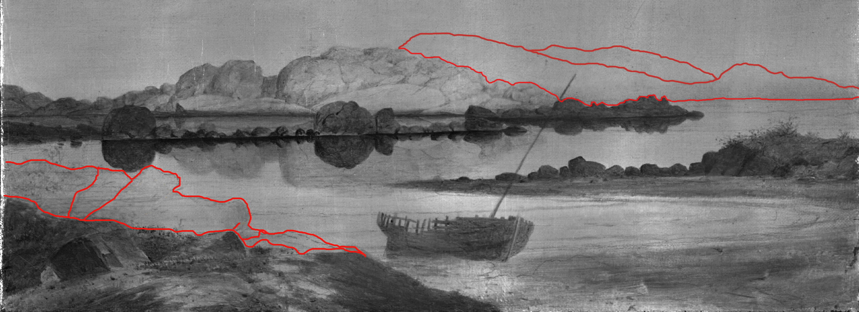 X-ray image with underdrawing of mountains and rocks highlighted.