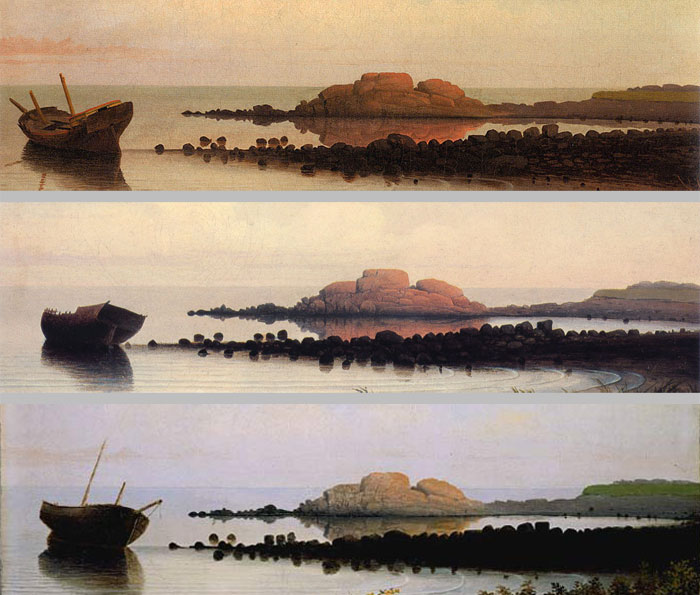 The horizon line has been lowered slightly approximately 1.5 centimeters in the Private Collection version and 3 centimeters in the NGA version