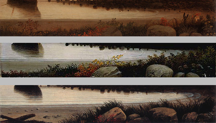 The foreground of the three paintings also shows variations developed in the studio.